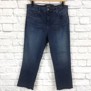 NYDJ Capri Raw Hem High Rise Blue Wash Jeans Sz 14